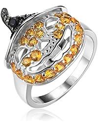 JewelryPalace Calabaza de Halloween de las mujeres 1.7ct creó el zafiro amarillo genuino anillo negro del coctel del dedo de la espina dorsal plata esterlina 925