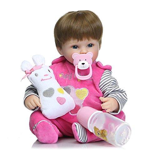 n Baby Simulation Puppe Spielzeug lebensechte Mädchen mit magnetischen Mund (Farbe: rose rot) (Mädchen Rag Doll Perücke)