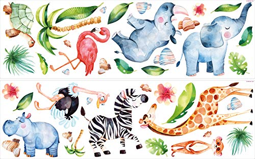 Wandtattoo Kinderzimmer Deko Aquarell Wandtattoo Dschungeltiere Safari Tiere