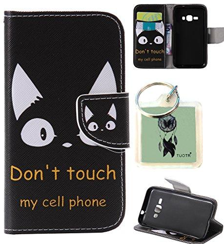 Preisvergleich Produktbild für Galaxy J1 (2016) J120 PU Wallet Case Schutz Hülle für Samsung Galaxy J1 (2016) J120 - Cover Flip Tasche mit Kartenfach in Buch Stil mit Kartenfach Standfunktion Magnetverschluss und Hand Wrist + Schlüsselanhänger (J12)