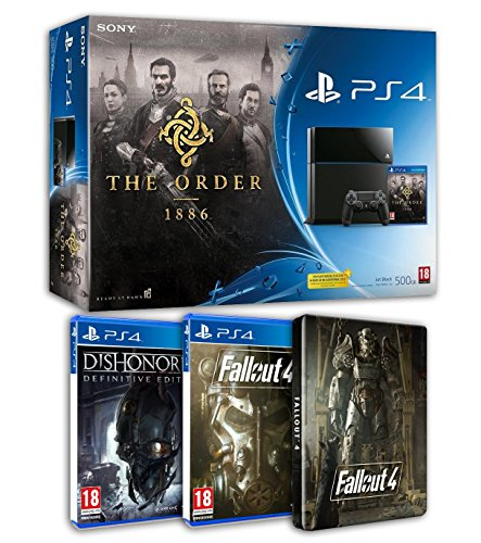 Pack PS4 500 Go + The Order 1886 + Fallout 4 + Steelbook + Dishonored - Definitive edition