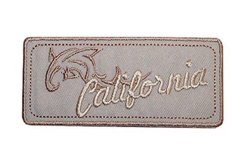 Emblem 9 cm * 4 cm Bügelbild braun California Delfin Abzeichen eckig Orden (Delfine Uniform)
