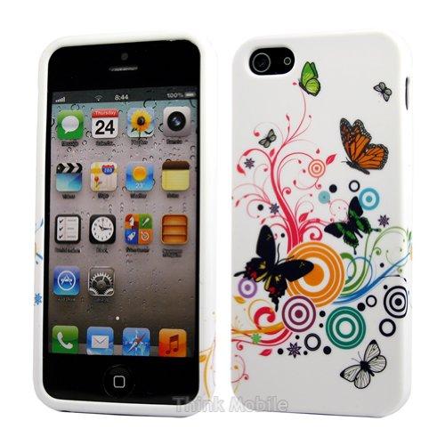 Apple iPhone 6 TPU Gel Case - Blau Apple iPhone 6 Tasche Flip Case Leder Cover Schutz Hülle Etui Schale - thinkmobile Schmetterling Weiss