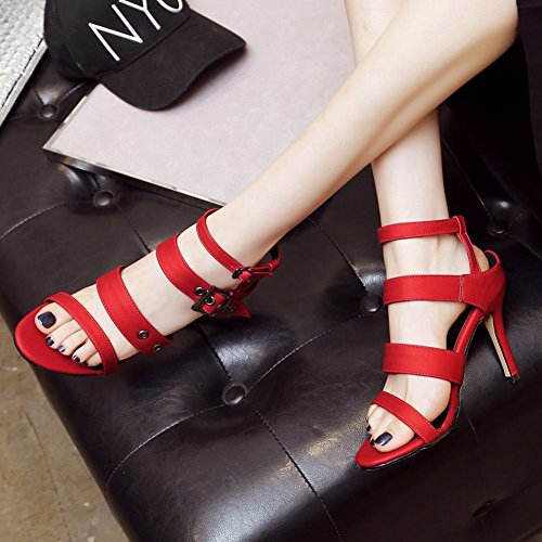 Mee Shoes Damen high heels Slingback Schnalle Sandalen Rot