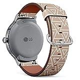 Art-Strap Compatibile con LG Watch Style - Cinturini di Ricambio con Chiusura a Sgancio Rapido con Perni (Geometric Brown)