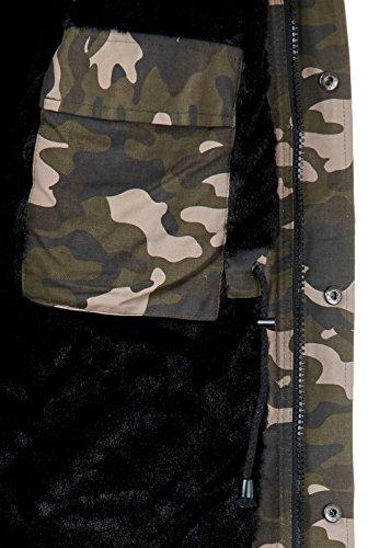 Burocs Herren Winter-Parka Kunst-Fell Schwarz Khaki Beige Camouflage BR1720 Camouflage