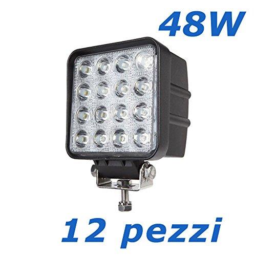 """12 X 48W 4.3"""" work light 4560LM faro da lavoro a LED da usare come proiettore abbagliante anabbagliante fendinebbia fanalino luce anteriore e posteriore ecc per autoveicoli fuoristrada barche trattori camion veicoli industriali 12V 24V"""