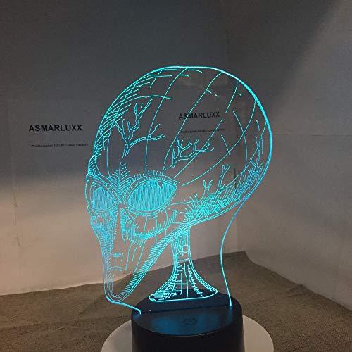 Alien 3D LED Nachtlicht Andere Planeten Menschen Kopf mit Licht für Hauptdekoration Lampenvisualisierung Optisches Dekor