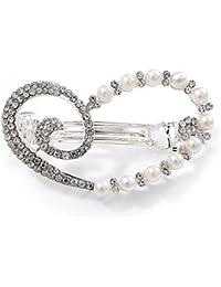 Perlas de Cristal de Cristal Transparente, abierta para vigas corazón pasador para pelo Clip Grip en metal chapado en rodio–50mm de ancho