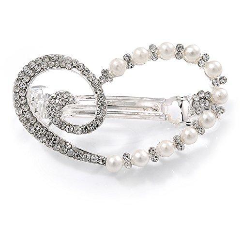 Unbekannt Avalaya Haarspange mit transparenten Kristallen, Glasperlen, offen, assymetrisches Herz, rhodiniertes Metall, 50 mm
