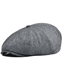 VOBOOM Men Newsboy Caps Wool 8 Pannel hat Ivy Cap Cabbie Flat Cap MZ111  (Grey 22885032140d