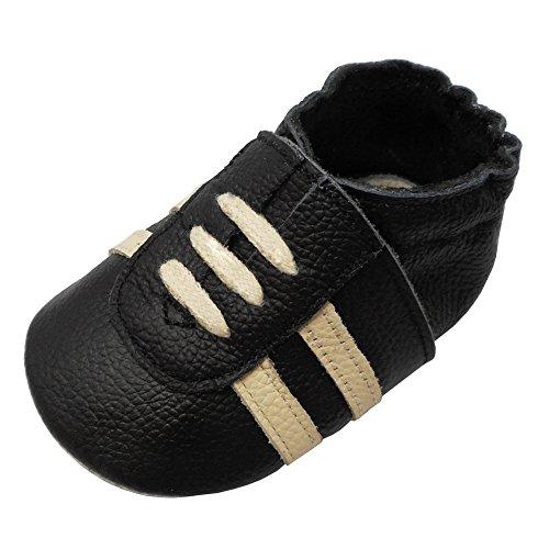 YIHAKIDS Weicher Leder Lauflernschuhe Krabbelschuhe Babyhausschuhe Turnschuh Sneakers mit Wildledersohlen(Schwarz,6-12 Monate)