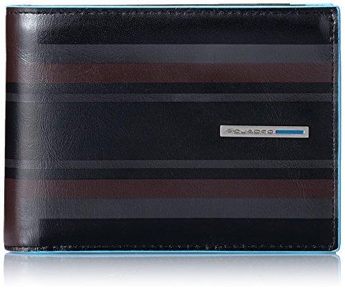 Piquadro Blue Square Portafoglio, Pelle, Nero, 12 cm