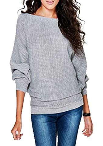 SA Fashions ® Ladies Knitted Casual Loose BATWING Long Sleeves Knit Pullover Sweater Jumper Oversized Thick Ribbed Winter Warm Chunky Baggy Top 8-14 (M/L (12-14), Silver)