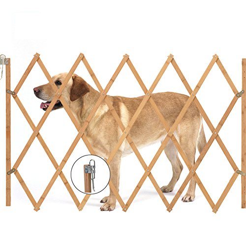 BALLSHOP Hundeabsperrgitter Treppenschutzgitter Ausziehbar Absperrgitter Hundegitter Tür Türschutzgitter Natur Safety 108 x 85 cm