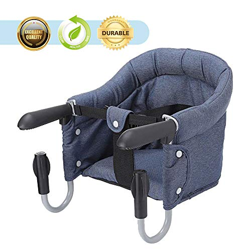 Shujin Kleinkind Baby Tischsitz Faltbar Babysitz Hochstuhl Sitzerhöhung für zu Hause und Unterwegs Stuhlsitz mit klappbarer Schraubfixierung (Dunkelblau, One Size)