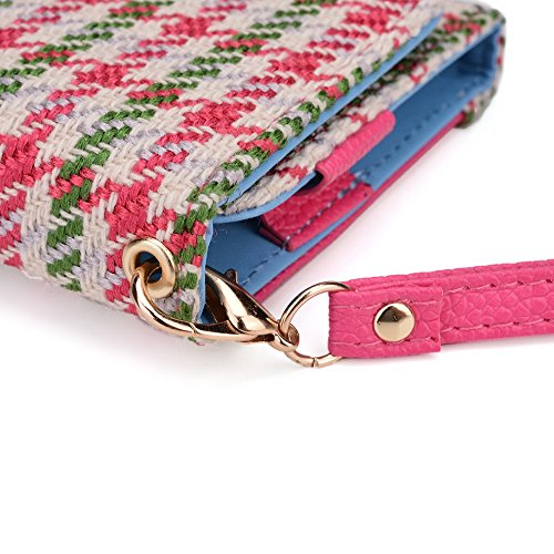Kroo Housse de transport Dragonne Étui portefeuille pour HTC One Dual Sim/Desire 510/Desire 610 Blue and Red Pink Houndstooth and Magenta