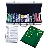 COSTWAY Pokerset mit 500 Laser-Chips | Pokerkoffer Alu | Pokerchips | Poker Komplett Set | Pokerkoffer mit Tuch /2 Pokerdecks