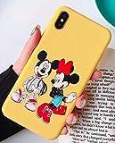 Générique Coque iPhone X et XS Mickey Minnie Mouse Retro Effet Silicone Souple Jaune