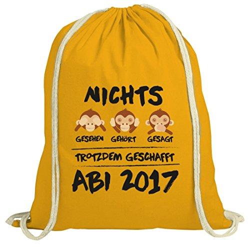 Abschluss Abitur natur Rucksack Turnbeutel Abi 2017 - Nichts gesehen, gehört, gesagt gelb natur