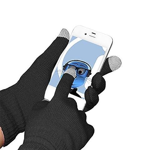 Schwarz Unisex Full Finger One Size TouchTip TouchScreen Winterhandschuhe für