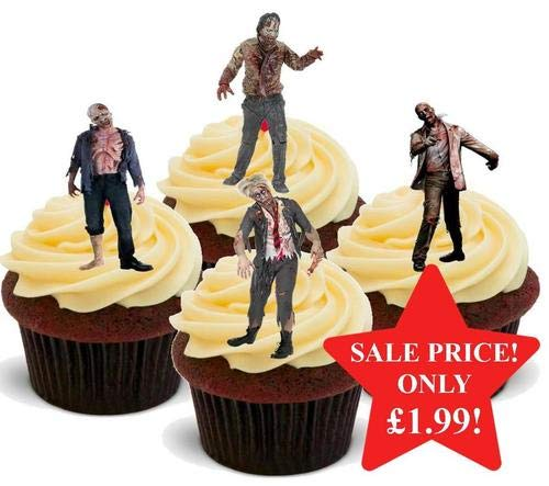 HALLOWEEN Real-life Zombie Mix -12 essbare hochwertige stehende Waffeln Kuchen Toppers, HALLOWEEN Real-life Zombie Mix - 12 Edible Stand Up Premium Wafer Cake Toppers