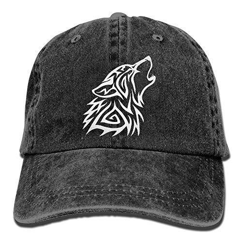 jingqi Unisex Baseball Cap Hat Tribal Wolf Howl Cotton Denim Dad Hat for Women