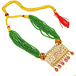 Jewar Mandi Necklace green red multicolour gold plated Pearl Gemstone Ad Rajputi ad Jewelry 7621for womens girls