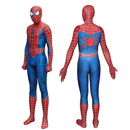 AEDFD Neues Spider-Man-Kostüm 2019 Halloween-Kostüm-Overall 3D-Druck Spandex Lycra Spider-Man - Cosplay-Kostüm-Trikot Für Erwachsene Und Kinder,Siamese+Sole-Child/S (Marvel Neue Spiderman Kostüm)
