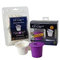 Ez-cup 2.0 & Ez Cup Filters (50 Filters) Combo Pack for Keurig 2.0 By Perfect Pod