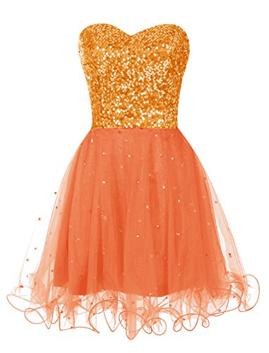 Find Dress Elégant Sexy Robe de Soirée/Cocktail/Cérémonie à paillette sans Bretelle Courte avec Sequins en Tulle Orange