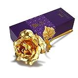 Swiftswan 24k Goldfolie plattiert Rose Blume in exquisiten Geschenkbox, Beste Romantisches Geschenk für Jubiläum, Dank Giving Day, Valentinstag, Muttertag, Geburtstagsgeschenk