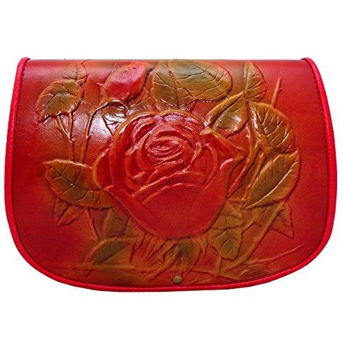 kōson Leder Rose Lila Pink Rot handgefertigt Umhängetasche Handtasche Messenger Bag (Leder Geldbörse-reiniger)