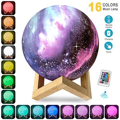 Lampara de Luna Colorida 3D, KOWTH Luz de Luna LED de 16 Colores con Soporte y Control Remoto y USB Recargable, Regalos Para Cumpleaños y Fiesta Para Los Amantes de los Bebés. (15cm)