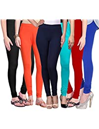 Omikka New Women's 160 GSM Cotton Lycra 4 Way Strechable Churidar Leggings Pack Of 6 (Free Size)