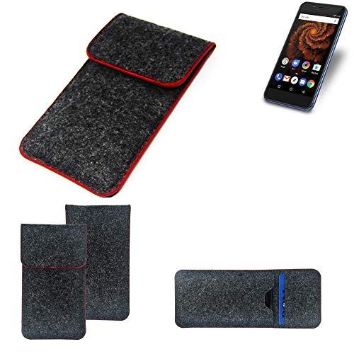 K-S-Trade® Filz Schutz Hülle Für -Allview X4 Soul Mini S- Schutzhülle Filztasche Pouch Tasche Case Sleeve Handyhülle Filzhülle Dunkelgrau Roter Rand