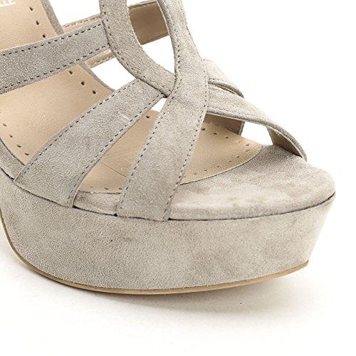 ALESYA by Scarpe&Scarpe - Sandales hautes avec bandeaux, en Cuir, à Talons 11 cm Beige