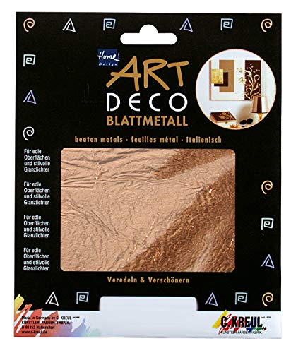 Kreul 99403 - Art Deco Blattmetalle, zum Veredeln auf Holz, Glas, Papier, Leinwand, Styropor, Wachs, Keramik, Metall, Leder und Stein, ca. 14 x 14 cm, 6 Blatt in kupfer -