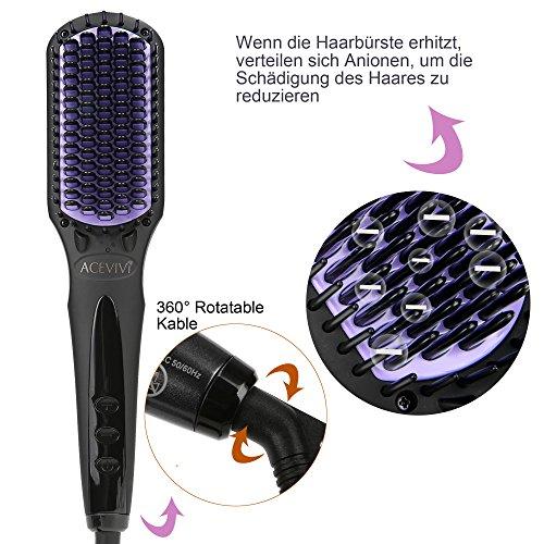 ACEVIVI Ionen Keramik Glättbürste Haarglätter mit Warmluft und LCD...