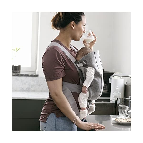 BABYBJÖRN Baby Carrier Mini, 3D Jersey, Light Grey Baby Bjorn Perfect first baby carrier for a newborn Small and easy to use 3D Jersey - Our newest and softest material is as snug as your comfiest T-shirt 2