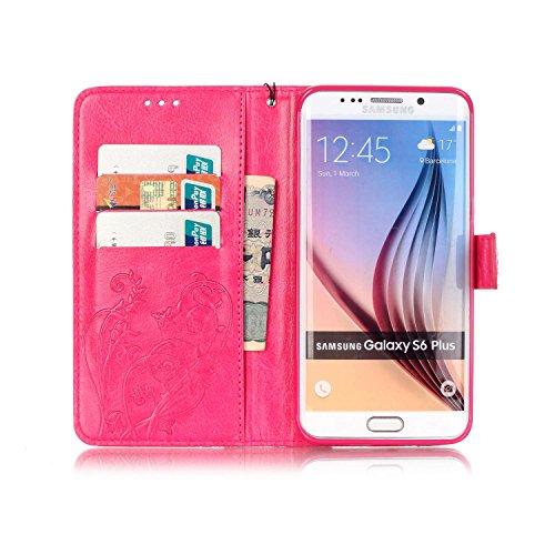 Prägen Blumen-Case, Magnetverschluss Synthetische PU-Leder-Kasten-Abdeckung mit hängenden Seil und Wallet-Funktion für Samsung S6 Rand Plus ( Color : Pink , Size : Samsung S6edgeplus ) Rose