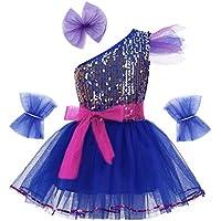 iiniim Vestido Lentejuelas Princesa Flores para Niña Chica Traje de Baile  Jazz Patinaje Artistico Falda Tutú dd0382defd0