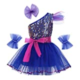 YiZYiF Vestido Danza Ballet Niña Disfraz de Bailarina de Ballet Latín Jazz Vestido Princesa con Lentejuelas Dancewear Infantil 3-14 Años Azul 7-8 Años