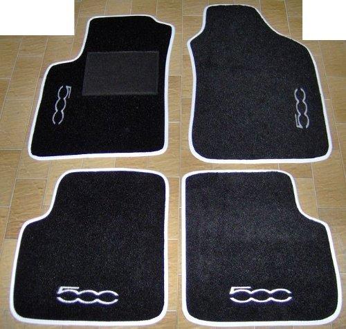 Tappeti per auto, set completo di Tappetini in Moquette su Misura Neri con Bordo Bianco e Ricamo a Filo Bianco SPEDIZIONE GRATIS