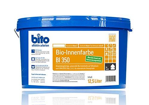 bito BI 350, Bio Innenfarbe Wandfarbe auf Silikatbasis matt weiß, 12,5 Liter, für Allergiker geeignet, ohne Zusatz von Konservierungsmitteln