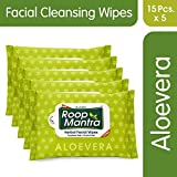 Roop Mantra Aloevera Facial Cleansing Wipes, 15 Count, Pack of 5 - Facial Wipes for Men & Women, Skincare Wipes