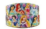 Alle die Disney Prinzessinnen inkl. Elsa Anna Snow White Belle Cinderella Ripsband 2m x 22mm für Geburtstagstorten, Geschenkpapier Band Haar Bögen
