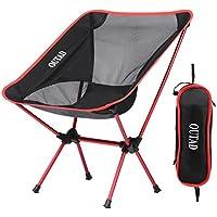 Silla de Camping Plegable con bolsa, plegable y portátil, carga hasta 150 KG, ideal para acambaca/senderismo/viaje/Caza/Pesca, rojo
