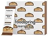 foodspring Protein Bar Extra Schokolade, Crunchy Peanut, 12-Paket, Echter Schoko-Riegel, Aber 90% weniger Zucker