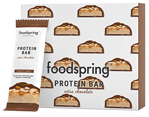 foodspring Protein Bar Extra Schokolade 12-Paket (Crunchy Peanut) - Echter Schokoriegel. Aber 90%...